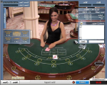 live casino table with dealer